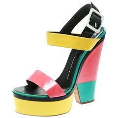 Giuseppe Zanotti Multicolor Colorblock Patent Leather Platform Ankle Strap Sanda