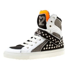 Dsquared2 Tricolor Leather And Suede Studded High Top Sneakers Size 42
