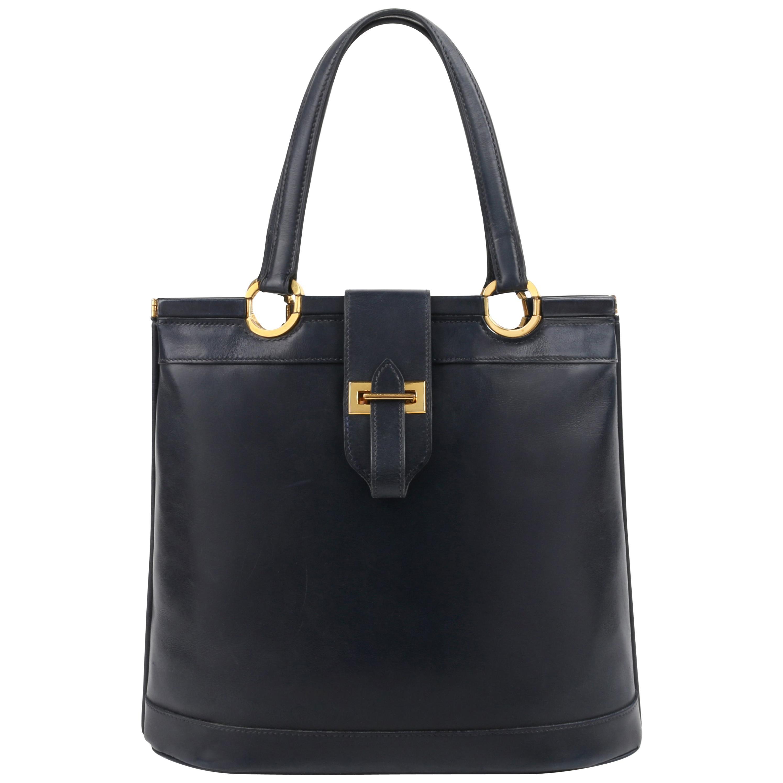 "HERMES c.1973 ""Berry"" Navy Blue Box Calf Leather Double Top Handle Tote Handbag"