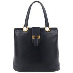 "HERMES c.1973 ""Berry"" Navy Blue Box Calf Leather Double Top Handle Tote Handbag"