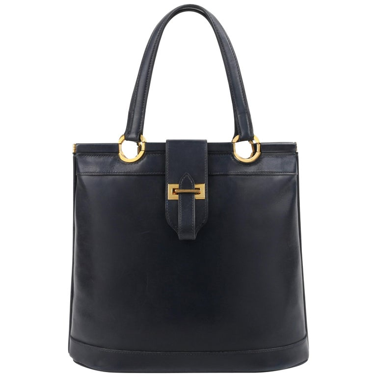 """HERMES c.1973 """"Berry"""" Navy Blue Box Calf Leather Double Top Handle Tote Handbag  For Sale"""