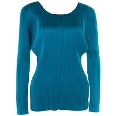 Pleats Please By Issey Miyake Emerald Green Micro Pleated Long Sleeve Top XS