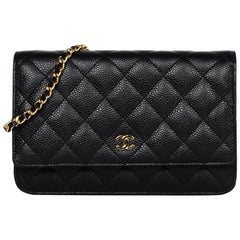 Chanel 2018 Black Caviar Leather Quilted Wallet On Chain WOC Crossbody Bag