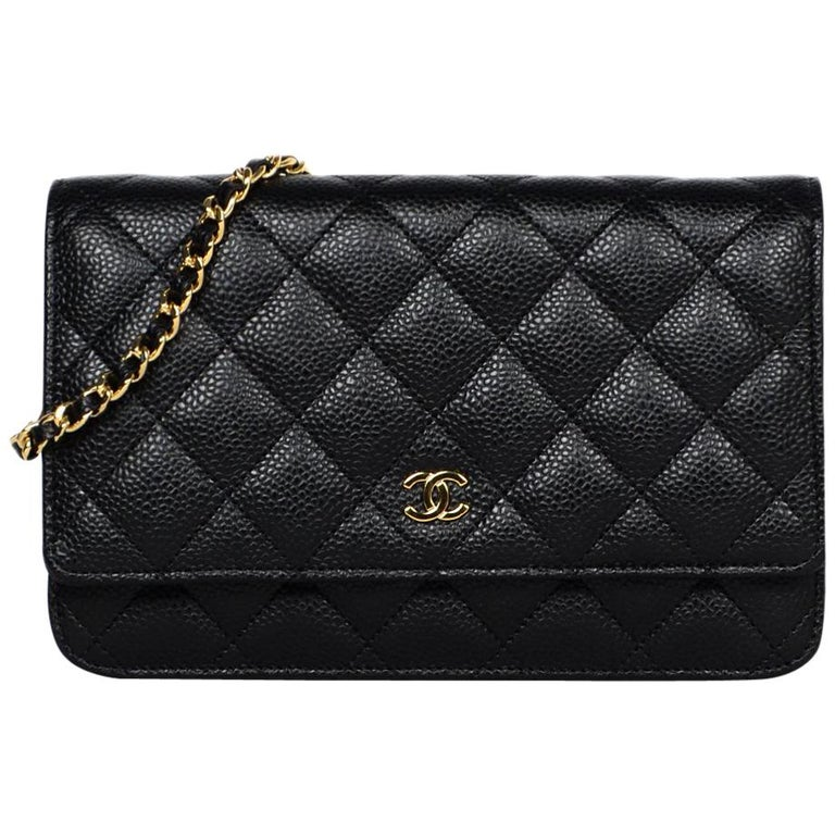76328763fe61 Chanel 2018 Black Caviar Leather Quilted Wallet On Chain WOC Crossbody Bag  For Sale