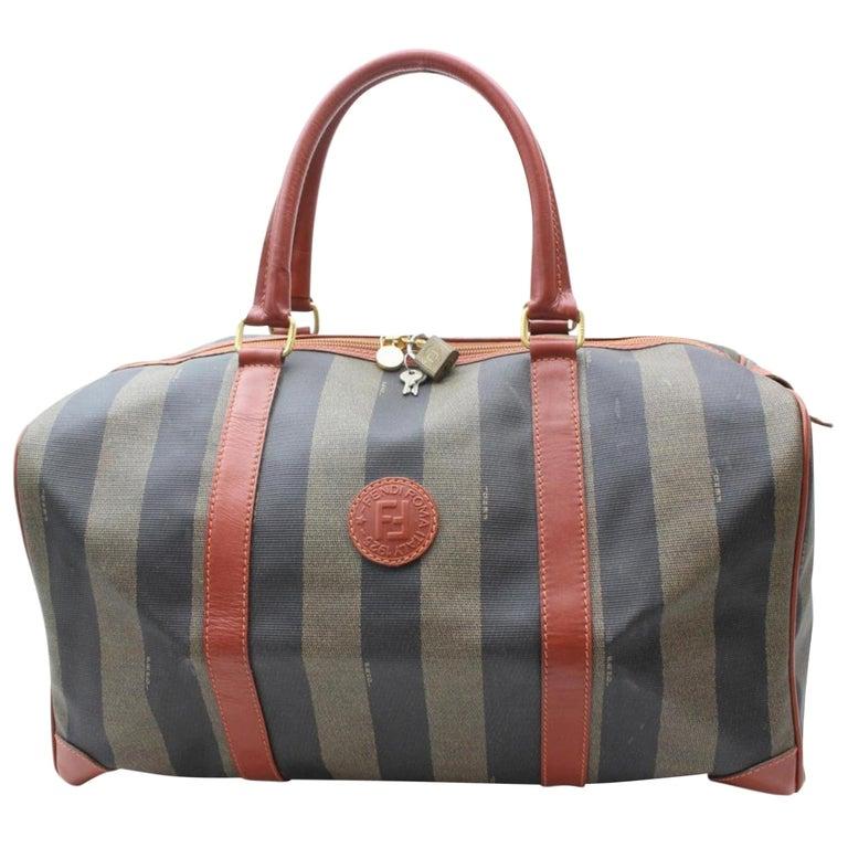 793683fda38d Fendi Pequin Stripe Boston Duffle 869638 Brown Coated Canvas Weekend Travel  Bag For Sale