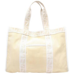 Fendi Monogram Ff Zucca Ivory Shopper 869522 Cream Canvas Tote