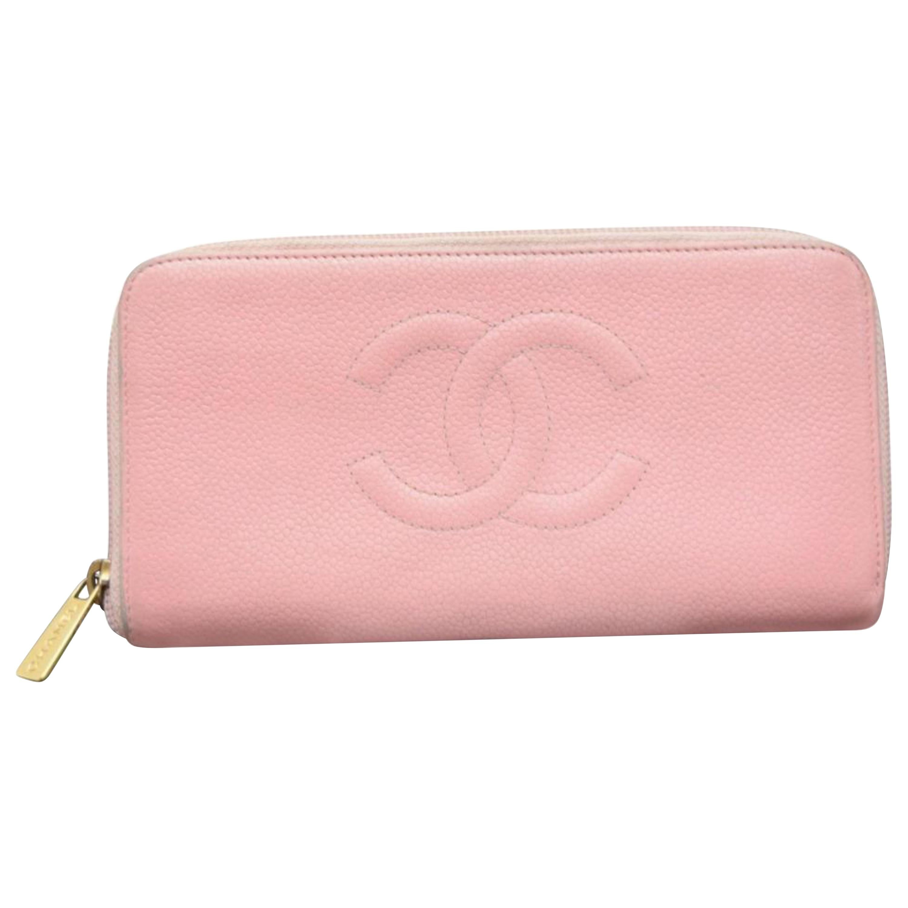 4e85c5cdd09a Chanel Pink Caviar Leather CC Timeless Yen Wallet For Sale at 1stdibs