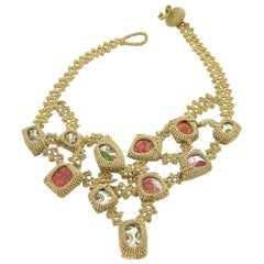 Gold Color Thread Red  Porcelain Japanese Art Contemporary Statement Necklace
