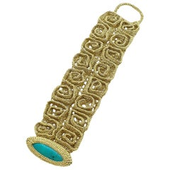 Gold Color Thread Turquoise Egyptian Style Contemporary Crochet Modern Bracelet