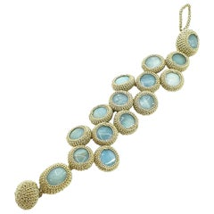 Golden Thread Blue Amazonite Contemporary Fashion Jewelry Crochet  Bracelet