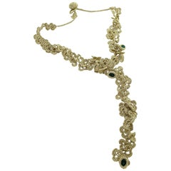 Gold Color Thread Emerald Swarovski Crystals Art Nouveau Style Fashion Necklace