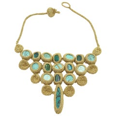 Gold Color Thread Turquoise Green Blue Natural Stones Art Deco Fashion Necklace