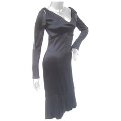 Chanel Silk Charmeuse Ribbon Trim Cocktail Dress Circa 1990s