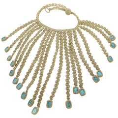 Gold Color Thread Turquoise Contemporary Hipster Art Fashion Jewelry Necklace