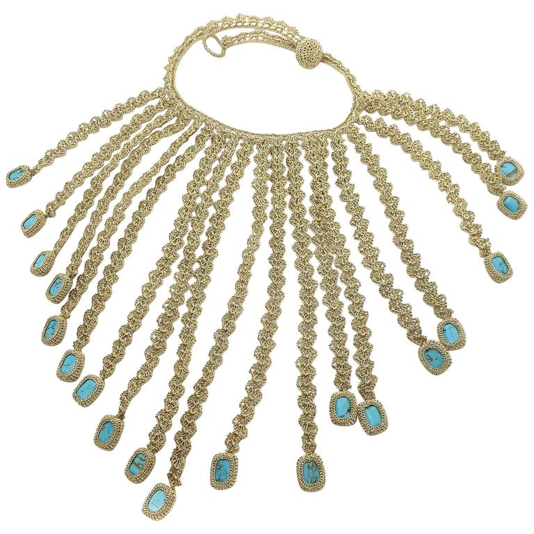 Gold Color Thread Turquoise Contemporary Hipster Art Fashion Jewelry Necklace For Sale