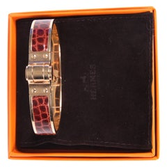 Hermes Charniere Bracelet Alligator Leather Rose Gold - brown