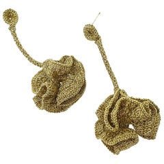 Gold Color Thread Flower Young Contemporary Crochet Fashion Statement Earrings