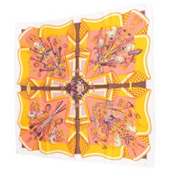 Hermes Silk Carre Scarf 'Bouquets Sellier' - orange/salmon/lilac/white
