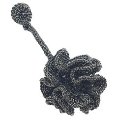 Black Thread Flower Young Hip Art Jewelry Fashion Contemporary Earrings Modern