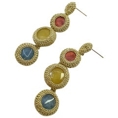 Gold colorThread Coral Jade Contemporary Hip Made To Order Fashion Drop Earrings