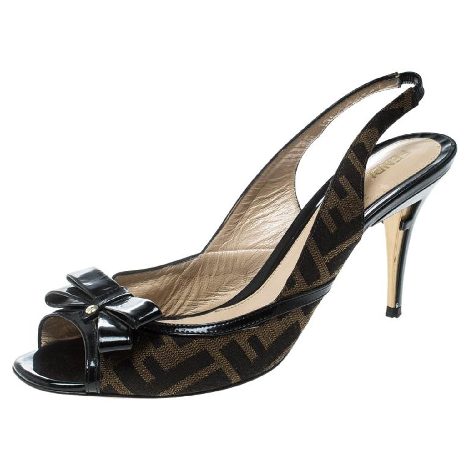 cac697c8339 Fendi Brown Zucca Canvas and Black Patent Bow Slingback Sandals Size 39.5
