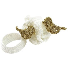 White and Gold Color Birds Wearable Art Contemporary One Of A Kind Crochet  Ring