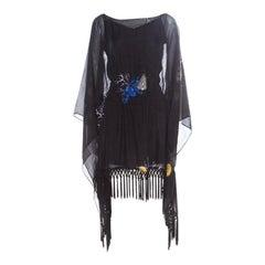 Versace Collection Black Shell Printed Silk Tasseled Edge Beach Kimono M