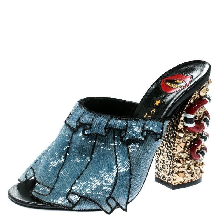 6cd6664f35a Gucci Blue Sequin Ruffle Trompe L Oeil Block Heel Mule Sandals Size 38 For  Sale
