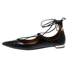 Aquazzura Black Leather Christy Lace Up Pointed Toe Flats Size 38