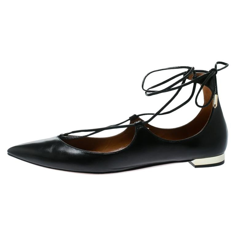 171315929 Aquazzura Black Leather Christy Lace Up Pointed Toe Flats Size 38 For Sale