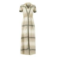 1960s Oscar de la Renta Grey Silk Floor Length Shirt-Waister Dress