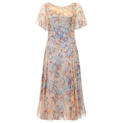 Outstanding 1920s Silk Chiffon Floral Dress with Original Slip