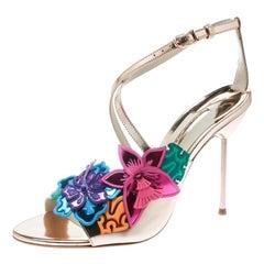 Sophia Webster Rose Gold Hula Floral Embellished Crisscross Sandals Size 40.5