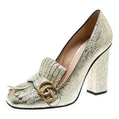 5dec1cab0f43 Gucci Metallic Gold Foil GG Marmont Fringe Detail Block Heel Pumps Size 39.5
