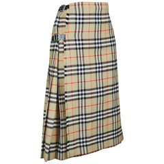 Burberry Vintage Women's 100% Wool Nova Check Tartan Kilt Skirt, 1980s