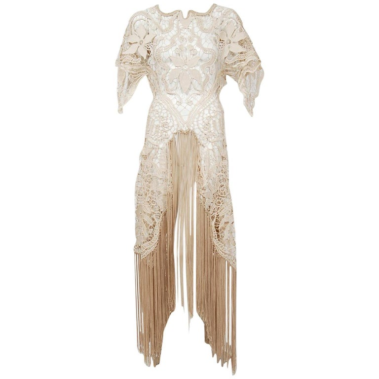 1970's Couture Beige Lace Floral Motif Winged Sleeve Bias-Cut Fringe Sheer Gown For Sale