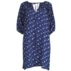 Chloé by Karl Lagerfeld Vintage Dark Blue Crinkled Silk Floral Mini Dress, 1970s