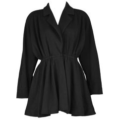 Donna Karan for Bergdorf Vintage Black Wool Structured Shoulder Jacket, 1980s