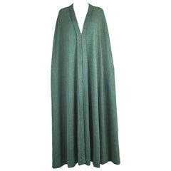 Lanvin Haute Couture Unstructured Green Wool Knit Maxi Cape Cloak, 1970s