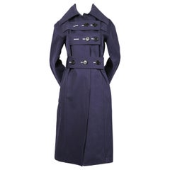 CELINE by PHOEBE PHILO navy blue brushed cotton trench coat