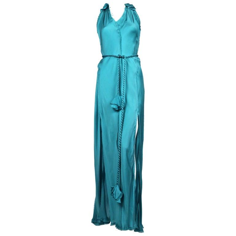 LANVIN by Alber Elbaz turquoise silk bias cut dress For Sale