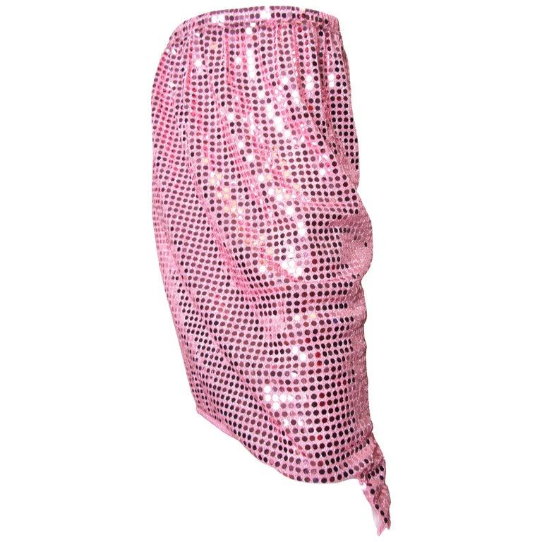 2007 Comme des Garcons pink sequin skirt elastic waist For Sale