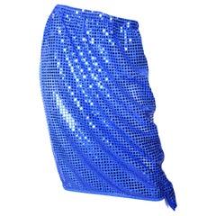 Comme des Garcons blue sequin drawstring skirt