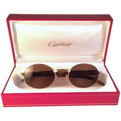 e45a61d6619f New Cartier Giverny Gold and Wood Large 53 22 Full Set Brown Lens Sunglasses