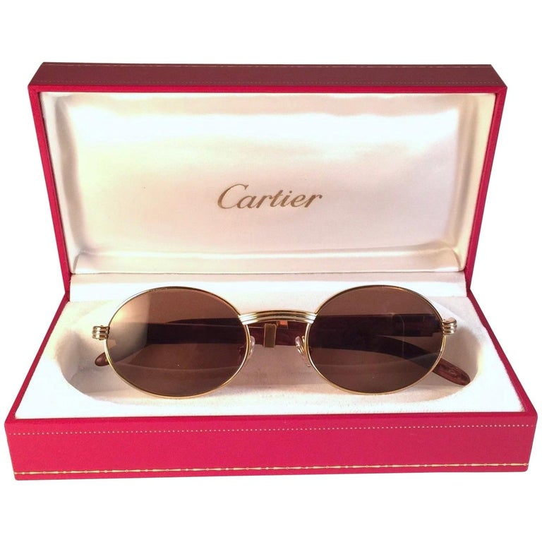 20be76cbf3784 New Cartier Giverny Gold and Wood Large 53 22 Full Set Brown Lens Sunglasses  For