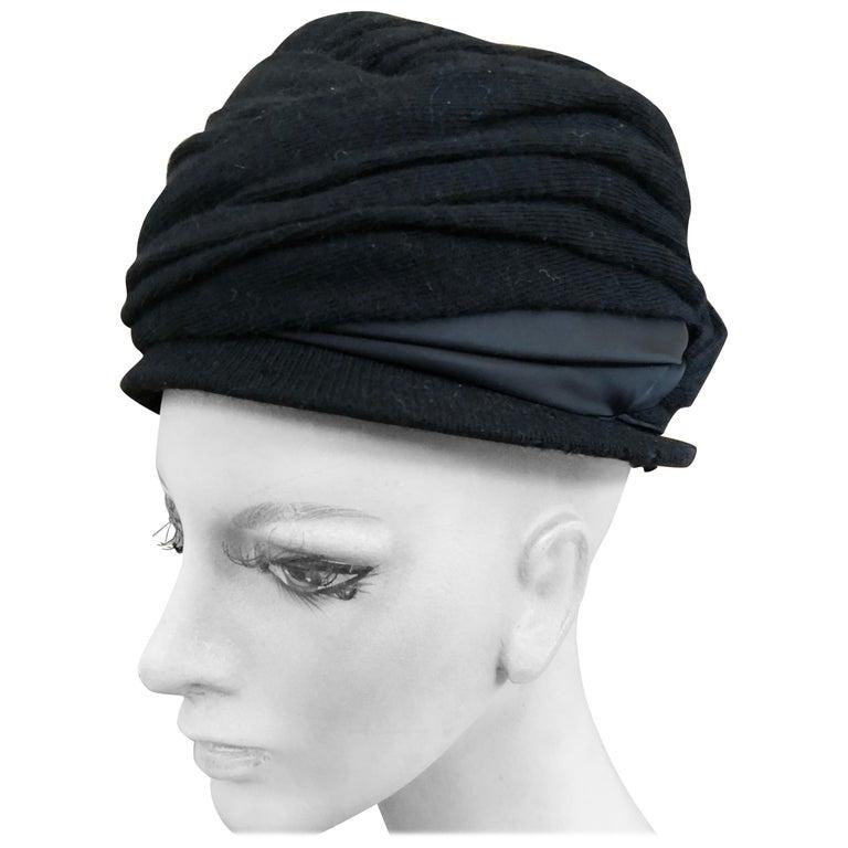 Christian Dior Chapeaux Vintage 1960's Black Knit Turban