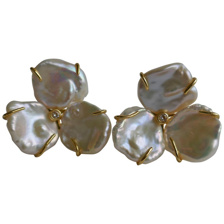 Cultured Keshi Pearls Flowers Earrings on 925 Vermeil Omega Clasp For Sale