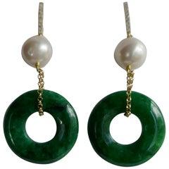 Cultured Pearls Green New Jade Vermeil Cubic Zirconia Small Hoop Earrings
