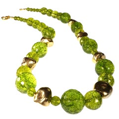 Sparkling Green Peridot and Golden Nugget Necklace