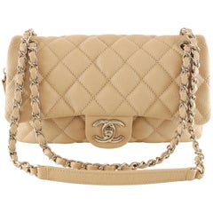 Chanel Beige Caviar Zipper Classic Flap Bag
